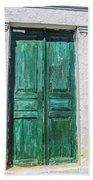 Old Green Door Beach Towel