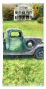 Old Green Pickup Truck Beach Towel