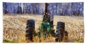 Old Green Tractor On The Farm Beach Towel