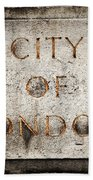 Old Grunge Stone Board With City Of London Text Beach Towel
