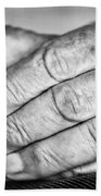 Old Hands With Wedding Band Beach Towel