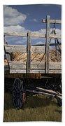 Old Hay Wagon In The Prairie Grass Beach Towel