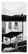 Old House In Black And White Beach Towel