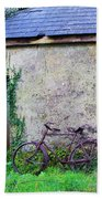 Old Irish Cottage With Bike By The Door Beach Towel