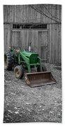 Old John Deere Tractor Beach Towel by Edward Fielding