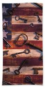 Old Keys On American Flag Beach Towel