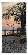 Old Lighthouse In Sunset Beach Towel