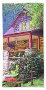 Old Log Cabin Home Beach Towel