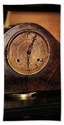 Old Mantelpiece Clock Beach Towel by Kaye Menner