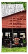 Old Massey Ferguson Red Tractor In Barn Beach Towel