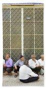 Old Men Socializing In Yazd Iran Beach Towel