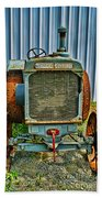 Old Metal Wheeled Tractor Hdr Beach Towel
