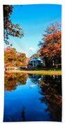 Old Mill House Pond In Autumn Fine Art Photograph Print With Vibrant Fall Colors Beach Towel