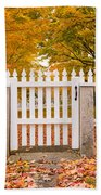 Old New England White Picket Fence Beach Sheet