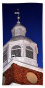 Old Otterbein Umc Moon And Bell Tower Beach Towel