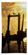 Old Pier At Sunset Beach Towel