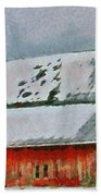 Old Red Barn In Winter Beach Towel