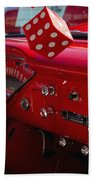 Old Red Chevy Dash Beach Towel