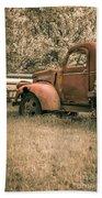 Old Red Farm Truck Beach Towel
