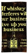 Old Reliable Whiskey Vintage Art Beach Towel