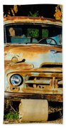 Old Rusty International Flatbed Truck Beach Towel