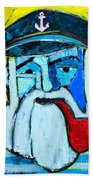 Old Sailor With Pipe Expressionist Portrait Beach Towel