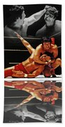 Old School Wrestling Headlock By Dean Ho On Don Muraco With Reflection Beach Towel