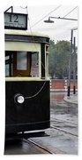 Old Shanghai Trolley Tram Car Rests In Tracks Beach Towel