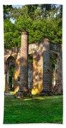 Old Sheldon Church Ruins In South Carolina Beach Towel