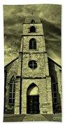 Old St. Mary's Church In Fredericksburg Texas In Sepia Beach Towel