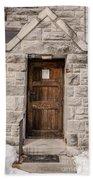 Old Stone Church Door Beach Towel