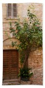 Old Stone House With Plants  Beach Towel