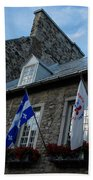 Old Stone Houses In Quebec City Canada  Beach Towel