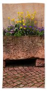 Old Stone Trough And Flowers In Alsace France Beach Towel