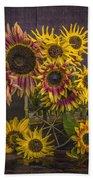 Old Sunflowers Beach Towel