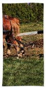 Old Time Horse Plowing Beach Towel