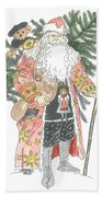 Old Time Santa With Teddy Beach Towel