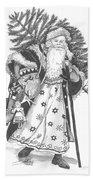 Old Time Santa With Violin Beach Towel