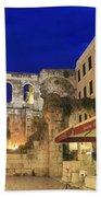 Old Town Of Split At Dusk Croatia Beach Towel