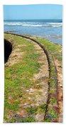 Old Tracks By The Ocean Beach Towel