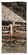 Old Vintage Antique Tractor In Appalachia Beach Towel