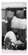 Old Tractor In The Snow Beach Towel