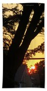 Old Tree And Sunset Beach Towel