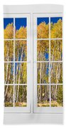 Old Triple16 Pane White Window Colorful Autumn Aspen Forest View Beach Towel