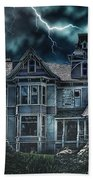 Old Victorian House Beach Towel by Mo T