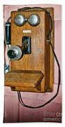 Old Wall Telephone Beach Towel