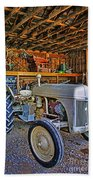 Old White Ford Tractor Beach Towel