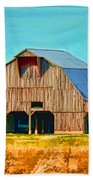 Old Wood Barn  Digital Paint Beach Towel