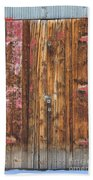 Old Wood Door With Six Red Hinges Beach Towel by James BO  Insogna