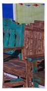 Old Wooden Benches Beach Towel